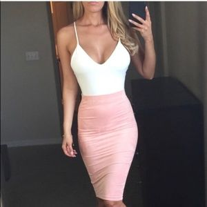 -New Blush Suede Midi High Waisted Pencil Skirt-
